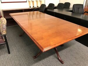 8 w X 4 d Traditional Rectangular Conference Table In Cherry Finish Wood Veneer