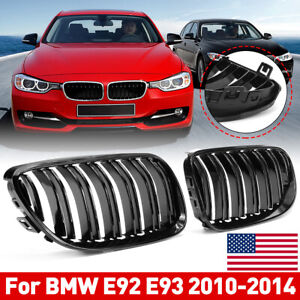 Pair Front Bumper Kidney Grill Grilles Gloss Black For Bmw E92 E93 2010 2014 New