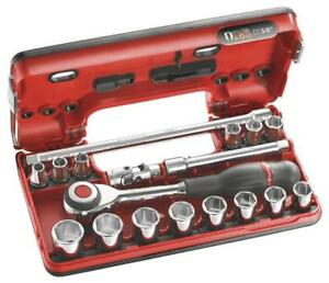 Facom 18 Piece 3 8 Drive Hex Socket Set Metric With Rotator Ratchet