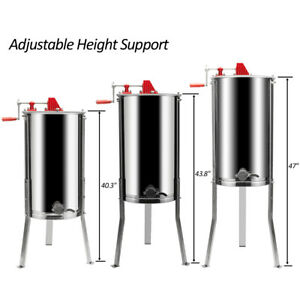 3 Frames Stainless Steel Manual Honey Extractor With Holder Silver Beekeeping