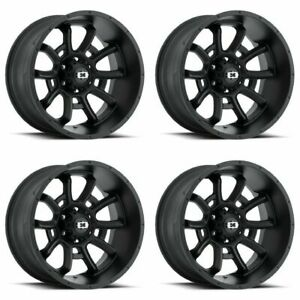 Set 4 20 Vision 415 Bomb Black Wheels 20x12 6x5 5 51mm Lifted Chevy Gmc 6 Lug