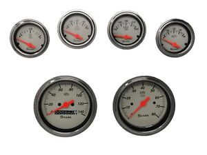 6 Gauge Hot Rod Street Rod Universal Dash Set Mechanical Speedometer Shark