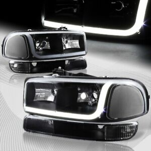 For 1999 2006 Gmc Sierra 1500 2500 Drl Led Black Clear Headlights Bumper 4pcs