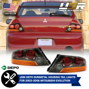 Depo Jdm Gunmetal Tail Lamps For 03 04 05 06 Mitsubishi Lancer Evo Evolution 8 9