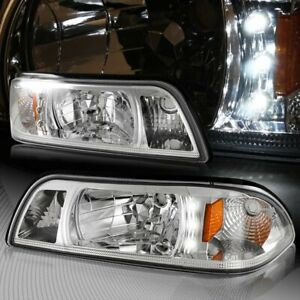 For 87 93 Ford Mustang 1 Piece Chrome Housing Headlights W Amber Reflector Lamps