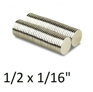 Lot 100 50 1 2 X 1 16 Neodymium Disc Strong Rare Earth N48 Small Magnets