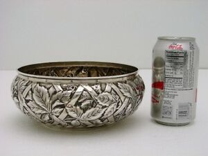 Whiting Sterling Silver Bowl Trompe L Oeil Grape Ivy Leaf Basket Marked C1890