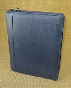 Classic 1 5 Rings Blue Leather Franklin Covey quest Zip Planner binder Usa