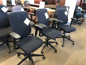 Swivel Mesh Back Chair By Steelcase Reply In Black Fabric Seat Model 466160mt