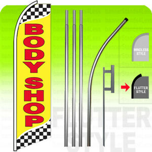 Body Shop Swooper Flag 15 Kit Feather Flutter Tall Banner Auto Sign Yb