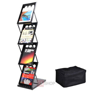 4 Pocket Folding Literature Rack Brochure Stand Display Holder 26891