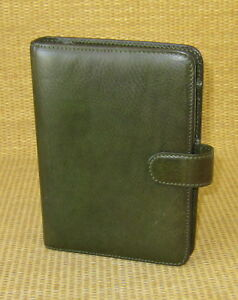 Pocket 75 Rings Green Leather Giada Franklin Covey Open Planner binder