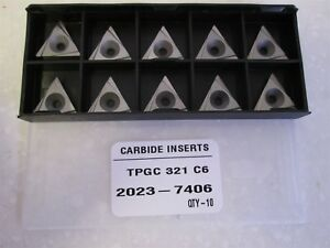 Lot Of 10 Carbide Inserts Style Tpgc Size 321 Grade C6 New