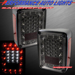 Set Of Pair Smoke Full Led Taillights For 2007 2018 Jeep Wrangler Jk Only