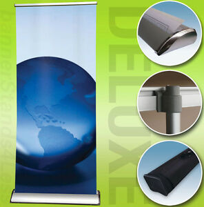 24x79 Deluxe Retractable Banner Stand Roll Up Trade Show Display Free Print