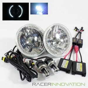 8000k Blue White Hi Low Hid 7 Round 6014 6024 Crystal White Led Ring Headlights