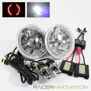 6000k White Hi Low Hid 7 Round H6014 H6024 Crystal Red Led Ring Headlights