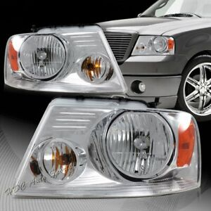 For 2004 2008 Ford F 150 Chrome Housing Clear Lens Headlights W Amber Reflector