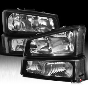Fit Chevy 2003 2007 Silverado 2002 2006 Avalanche Black Headlights Signal Bumper