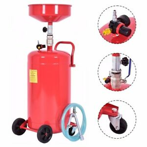 20 Gallon Waste Oil Drain Capacity Tank Air Operate Drainer Portable Wheel Hose