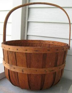 Antique Early Staved Wood Country Farm Apple Basket Chesapeake Bay Area Find