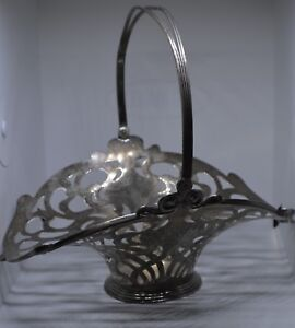 Antique Sterling Silver Openwork Basket Art Nouveau Beautiful