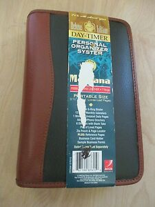 Day Timer Deluxe Edition Green Brown Zipper 6 Ring Planner Organizer New