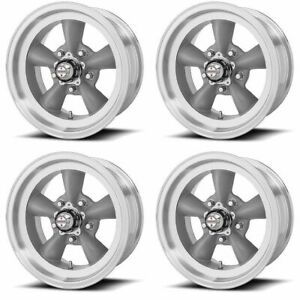 Set 4 14 Vn105d Torq Thrust D Grey Machined Lip Classic Wheels 14x6 5x4 75 2mm