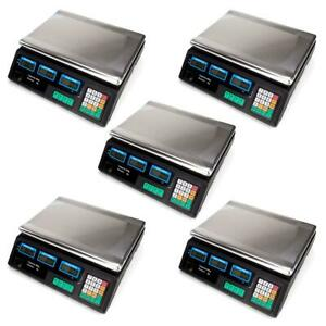 5 88lb Digital Weight Scale Price Computing Retail Food Meat Scales Count Scale