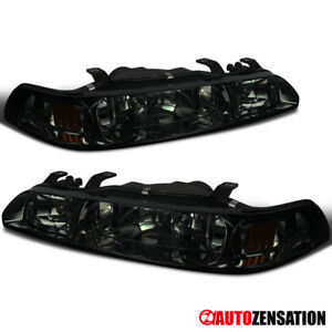 For 90 93 Acura Integra Smoke Tinted 1 piece Head corner fog Lights Lamps Pair