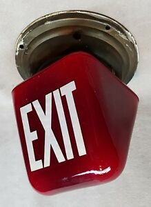 Vintage Red Glass Exit Light Sign With Mounting Ring