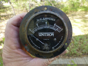 Antique Vintage Unitron Type Td D C Amperes Gauge By Roller Smith Auto Cycle