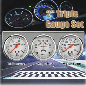 2 52mm Oil Pressure Water Temp Amp Meter Triple Gauge 3 In 1 Kit Chrome Panel