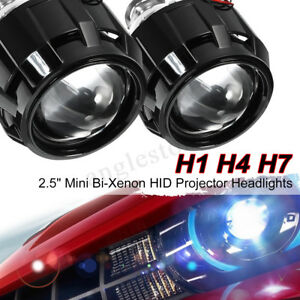 2x 2 5 Lhd Car Mini Bi Xenon Hid Projector Retrofit Headlight Shroud H1 H4 H7