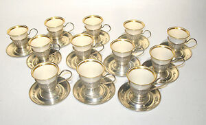 1920s 12 Demitasse Cups Saucers Meriden Brittania Lenox Sterling Silver Full Set