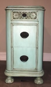 Antique Vintage Repurposed Art Deco Vanity Chalk Painted Waterfall Nightstand