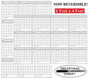 Huge 48x72 Dry Erase Blank Reusable Undated Annual Yearly Wall Calendar Planner