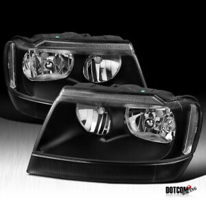 1999 2004 Jeep Grand Cherokee Black Headlights Head Lights Lamps Headlamps Pair