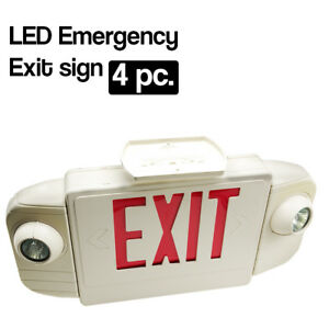 4 Pack Led Red Emergency Exit Sign Twin Light Combo With Battery Back up