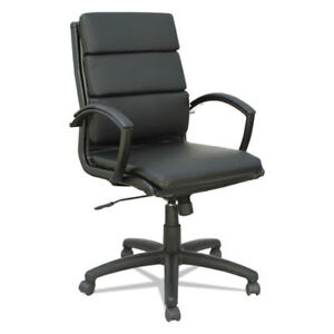 Lot Of 8 Black Leather Slim Profile Conference Room Table Chairs W Padded Arms
