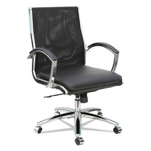 Lot Of 4 Black Leather mesh Conference Room Table Chairs With Padded Arms