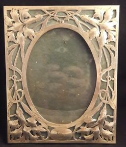 C1915 Art Nouveau George A Henckel Sterling Silver Reticulated Photo Frame
