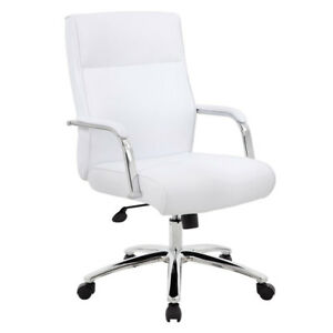 Lot Of 8 Modern White Conference Table Chairs With Padded Arms