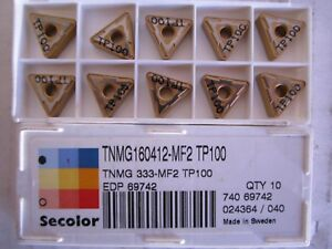 Lot Of 10 Seco Carbide Turning Inserts Style Tnmg Size 333 Grade Tp100