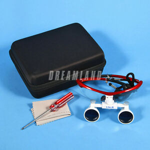 Ys red Dental Surgical Binocular Magnifier Optical Loupes 3 5x r Wide Deep View