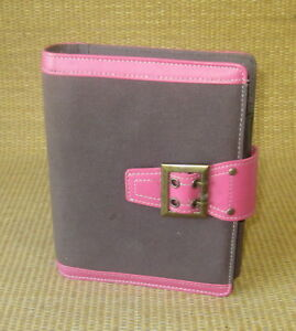 Compact 1 Rings Pink brown Fabric Sim Leather Franklin Covey Planner binder