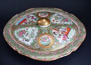 Antique Chinese Export Porcelain 11 Wide Covered Vegetable Bowl Rose Medallion