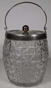 Antique Early 1900s England Walker Hall Silverplate Small Ice Bucket With Lid