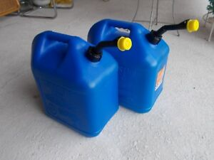 Lot 2 Blitz Blue 5 Gallon Kerosene Vented Gas Can Jug Complete Spouts Fuel Usa