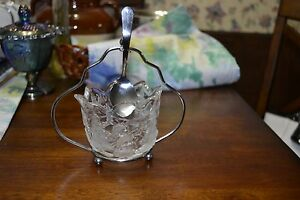 Vintage Cut Glass Sugar Bowl With Silver Plated Holder With Spoon Holder